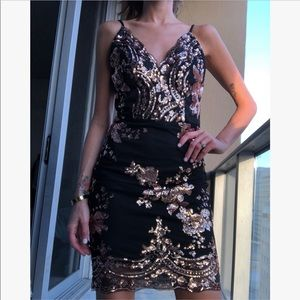 Golden sequin party dress